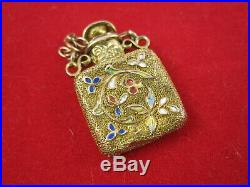 10k Gold Antique Victorian Enamel Chateline Perfume Bottle