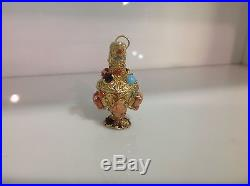 14k Yellow Gold Pitcher Victorianvintage Charm/perfume Bottle With Stones