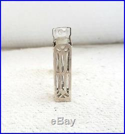 1930's VINTAGE 19 Gram GLASS PERFUME BOTTLE IN. 925 STERLING SILVER CASE, GERMANY