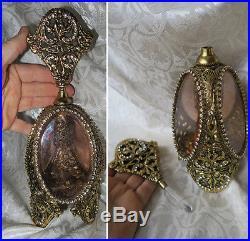 1of2 Vintage Vanity JEWELED Gilt Perfume Bottle Matson Ormolu Peach rose glass