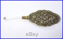 2 Gilt Metal Vintage Perfume Bottles Ornate Fillagree Glass Daubers Pair