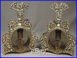 2 Vintage Perfume Bottles Gold Ormolu Filigree Aurora Borealis Rhinestones Pearl