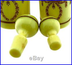 2 Vintage to Antique French PV opaline glass perfume Bottles original stoppers