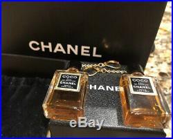 24k GOLD Auth CHANEL VINTAGE 4 MinI PERFUME BOTTLE Cc Logo Dangle DROP EARRINGS
