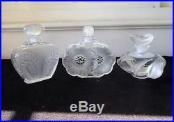 3 Vintage Lalique French Crystal Perfume Bottles Deus Fleurs Singapore Samoa