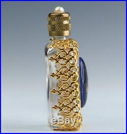 A Vintage Limoges Blue Porcelain Decorated Glass Scent Bottle