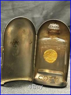 Antique L'origan De Coty Rare Glass Perfume Bottle Metal Standing Case Vintage