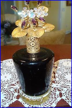 Antique/vintage Irice Amethyst Jeweled Perfume Bottlebasket Topper