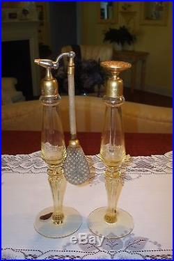 Antique/vintage Pair Devilbiss Art Deco Perfume Bottleslovely Yellow