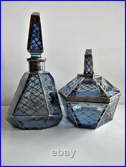 Antique Bohemian ART DECO Perfume bottle Powder Box Blue Glass Silver Overlay