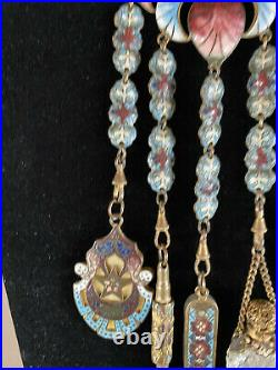 Antique French Enamel Chatelaine Five Piece with Scent Bottle