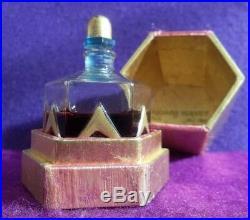 Antique RICHARD HUDNUT GEMEY French glass perfume bottle vtg ART DECO old gilt