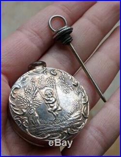 Antique Repoussé Chatelaine Victorian Sterling Round Perfume Bottle Fob Pendant