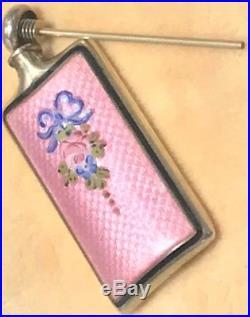 Antique Thomae Sterling Silver Pink Enameled Guilloche Perfume Bottle Vtg Scent