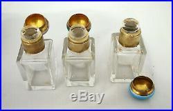 Antique Vintage Art Deco Sterling Silver Perfume Bottle Set Guilloche Enamel