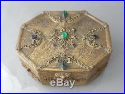 Antique Vtg Czech Silvercraft Gold Gilt Jeweled Filigree Jewelry Box Marked