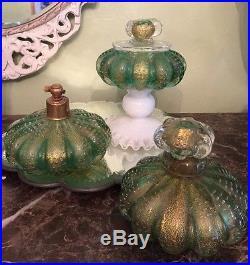 Antique/Vtg Murano 3 Perfume Bottles Powder Bullicante Aventurine Stunning Rare