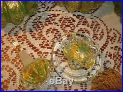 Antique/Vtg MuranoBullicante Aventurine Pair Perfume Bottleewelry JarBEAUTY