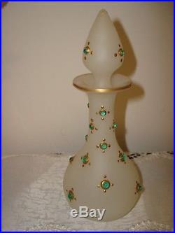 Antique/vtg Irice Rhinestone Perfume Bottle French Opalescent Basestunning