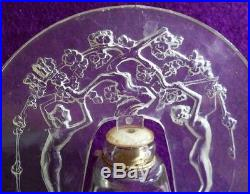 Art Deco DORSAY LALIQUE DESIGN perfume bottle vtg FIGURAL NUDES lucite stopper