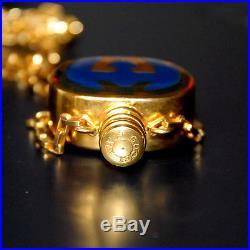 Auth Vintage Gucci Necklace Perfume Bottle Blue Enamel Pendant
