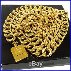 Authentic CHANEL Vintage CC Logos Perfume Bottle Motif Gold Chain Belt V03957