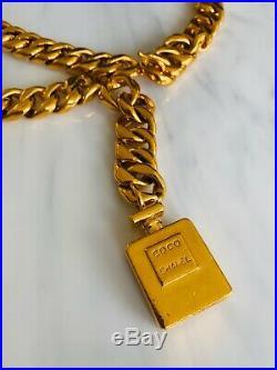 Authentic Vintage CHANEL Gold Tone Curb Chain Coco Perfume Bottle Medallion Belt