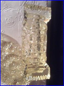 Beautiful Cut Glass Lemony Yellow Antique Vintage Perfume Bottle w Stopper
