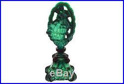Bohemian Czech Malachite Perfume Bottle Glass Flask Art Deco Style Vintage