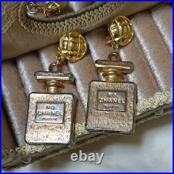 CHANEL Vintage No. 5 Perfume Bottle Motif Drop Clip Earrings Gold Auth Rare F/S