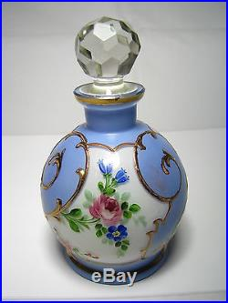 CZECH VINTAGE VANITY GLASS PERFUME SET BOTTLES POWDER JAR CUP Czechoslovakia1930