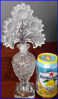 Czech Intaglio Cut-Vintage Sunflower Crystal Perfume Bottle & Sunflowers Stopper