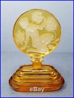 Czech Perfume Bottle Nude Intaglio Glass Crystal Bohemia Amber Vintage Art Deco