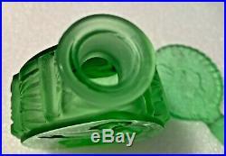 Czech Vintage 1930's Green Art Deco Intaglio Perfume Bottle