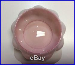 Estate Vintage Fenton Pink Crest Melon Vanity Set Perfume Bottles Powder Jar