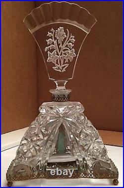 Extremely Rare Antique 9 Tall Cut Crystal Czechoslovakian Perfume Bottle