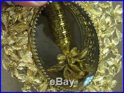 Fine Pair Vintage Stylebuilt Gold Ormolu Rose Glass Large Vanity Perfume Bottles