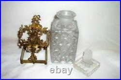 French Ormolu Bronze Dore Perfume Bottle Holder Flower Basket Apollo Antique