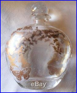 French Vintage PERFUME Clear Glass BOTTLE, Gold Butterflies, Jardin des Thermes