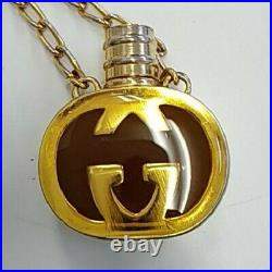 GUCCI Perfume Bottle Motif Pendant GG Logo Necklace Vintage USED Japan FedEx K