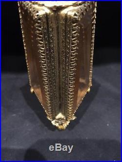 Gorgeous Vintage Jeweled Filigree Perfume Bottle with Cherub