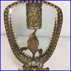 Huge 10.5 Ornate Matson Perfume Bottle Vintage Beveled Glass and Gold Vanity