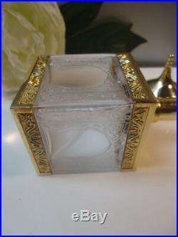 Iv. AMOUAGE Vintage 1980s Bright Gold Plated Mosque Empty Cristal Bottle Nr Mint