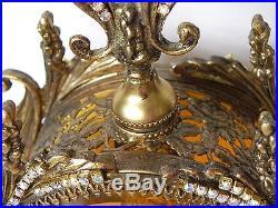 Jeweled AB Swarovski Ormolu Cherub Bird Amber Vtg Matson Vanity Perfume Bottle