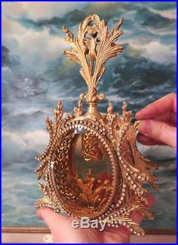 LG Vintage Vanity JEWELED Ormolu Perfume Bottle Matson Rose peach glass cherub