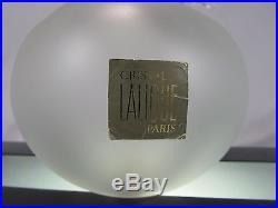 Large Vintage Signed Lalique France Crystal Grande Pomme Apple Perfume Bottle