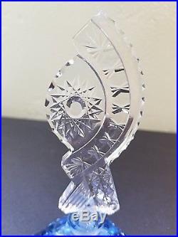 Lot of 2 Vintage Intaglio Cut Crystal Perfume Bottle Czechoslovakia MORLEE