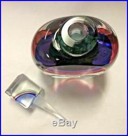 Oggetti Murano Italy Rainbow Art Glass Perfume Bottle Signed Vintage Italian