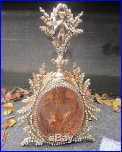 Old Vintage Vanity JEWELED Gilt Perfume Bottle Matson beveled Peach glass cherub