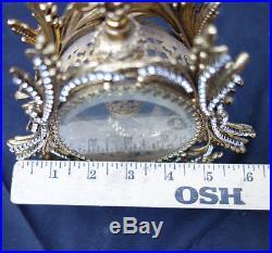 Ormolu Vintage Vanity JEWELED Gilt Perfume Bottle Matson clear glass cherub Bird